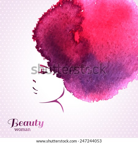 Fashion Woman Portrait with Watercolor Stain like Hair. Vector Illustration. Stylish Design for Beauty Salon Flyer or Banner. Girl Silhouette. Cosmetics. Beauty. Health and spa. Fashion themes. - stock vector