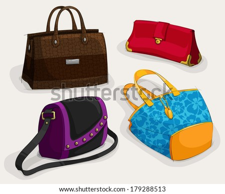Fashion woman's bags collection of classic leather bag handbag satchel and clutch isolated vector illustration - stock vector