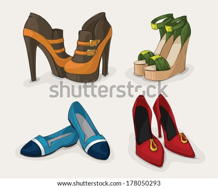 Fashion woman's shoes collection of ankle boots sandals and ballet flats isolated vector illustration - stock vector