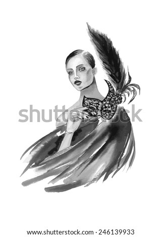 Fashion woman with mask in black and white color - stock vector