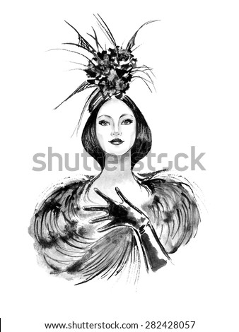 Fashion woman with stylish hat in black and white color - stock vector