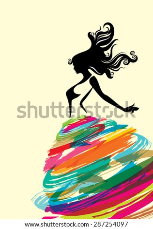 fashion women illustration with creative dress - stock vector