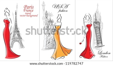 Fashion women, travel background - stock vector