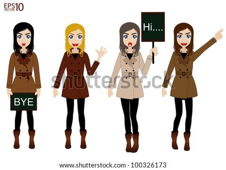 fashion women vector of beautiful winter - stock vector