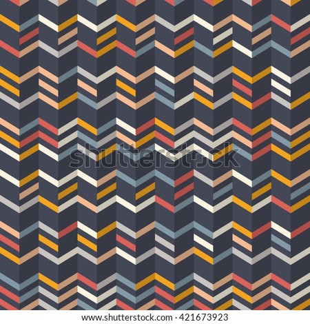 Fashion zigzag pattern in yellow, orange and red colors on navy blue background. Seamless chevron pattern. Vector background with zig-zag waves - stock vector