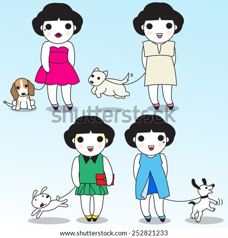 Fashionable Cute Girls with their Dogs illustration set - stock vector