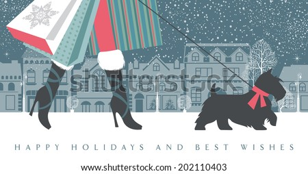 Fashionable girl on high heels with a dog are on a shopping spree. She is holding many colorful shopping bags. Season greetings and happy holidays concept. Vector EPS 10 illustration.  - stock vector