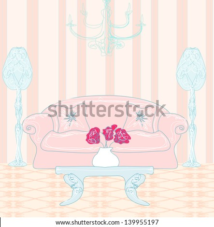 Fashionable interior of living room, doodle illustration - stock vector