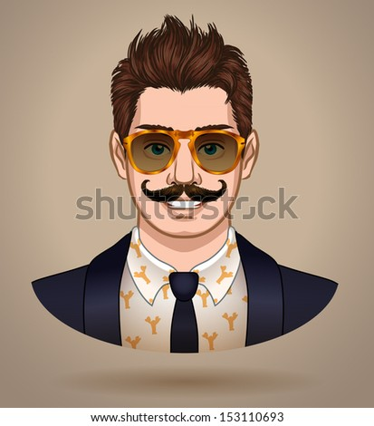 Fashionable male character wearing sunglasses and suit - vector illustration. - stock vector