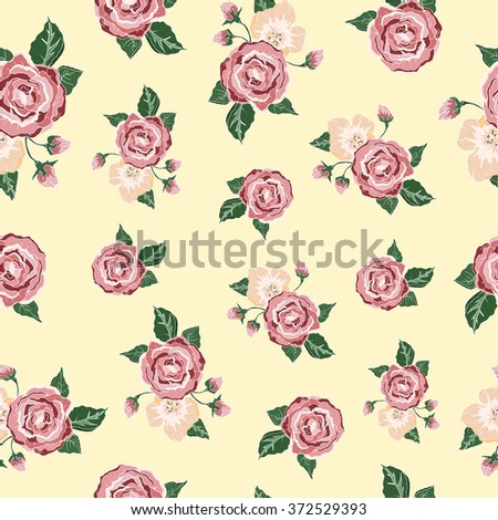 Fashionable modern wallpaper or textile with of collection pink roses isolated on yellow design background. Beautiful Seamless color rose pattern on background, vector illustration. - stock vector