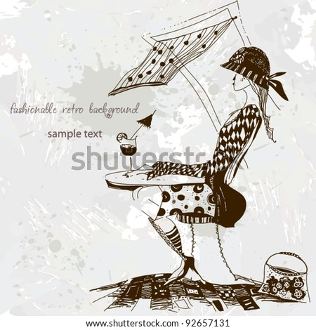 fashionable retro background, wallpaper sketch - stock vector