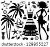 Fashionable set of tropical rest with silhouette of woman. vector - stock vector