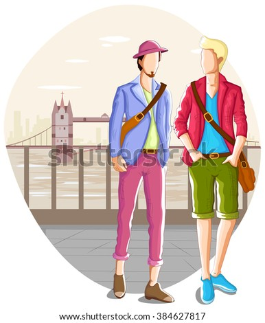 Fashionable urban man wearing stylish modern cloth in vector - stock vector