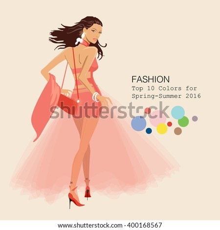 Fashionable woman in stylish clothes in 2016 season's top colors - stock vector