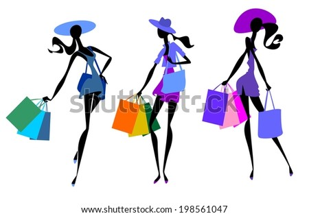 Fashionable women with  bags - stock vector