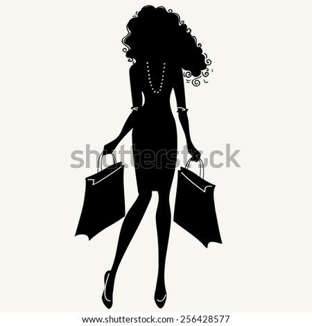 Fashionable young girl makes purchases. Black silhouette of a girl.  Vector illustration. - stock vector