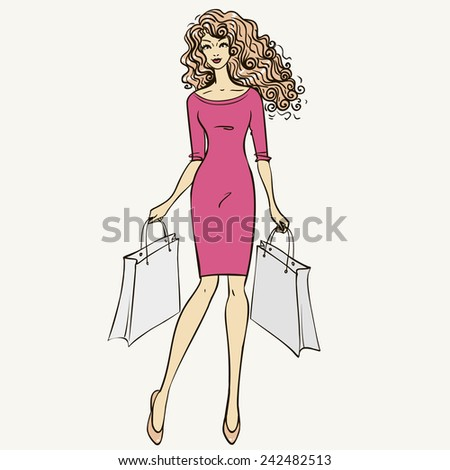 Fashionable young girl makes purchases. Vector illustration - stock vector