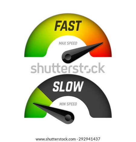 Fast and slow download speedometers. Vector. - stock vector