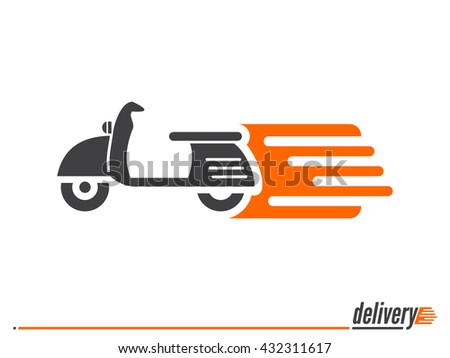 Fast delivery icon shipping scooter motorcycle, flat icon for apps and websites isolated on white background vector illustration - stock vector