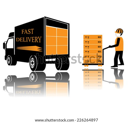Fast delivery. illustration of icons shipments and fast delivery, vector illustration. - stock vector