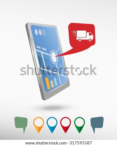 Fast delivery service icon and perspective smartphone vector realistic. Set of bright map pointers for printing, website, presentation element and application mock up.   - stock vector