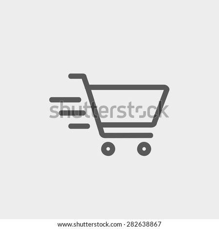 Fast delivery shopping cart icon thin line for web and mobile, modern minimalistic flat design. Vector dark grey icon on light grey background. - stock vector