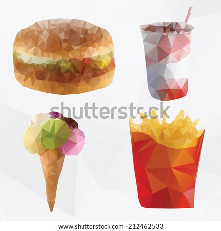 Fast food abstract  geometric polygon vector - stock vector