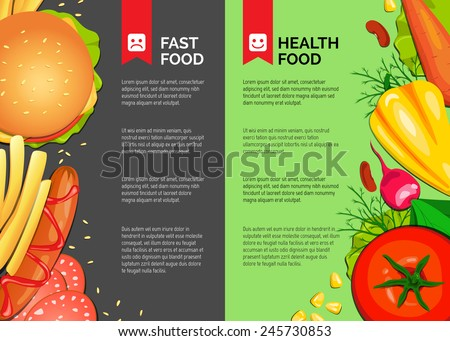 Fast food and Health Food. Vector background. Diet. Vector backdrop. Health care.  - stock vector