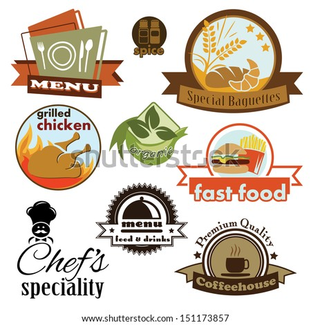 Fast Food and Restaurant Stickers - stock vector