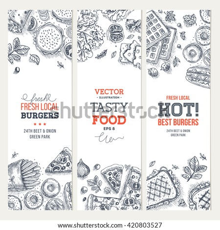 Fast food banner collection. Linear graphic. Snack collection. Junk food cafe. Vector illustration - stock vector