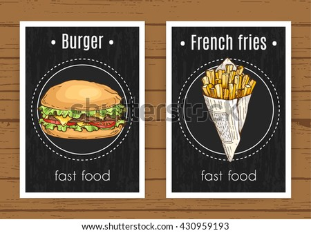 fast food: burger and french fries posters; hand drawn vector illustration in sketch style; unhealthy meal template for postcards, flyers or elements for restaurant, cafe menu - stock vector
