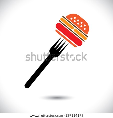 Fast food burger & fork icon for cafes, hotels- vector graphic. The illustration represents burger sign or symbol pierced on a fork for hotels, restaurants, inns, motels, food blogs, websites, etc - stock vector