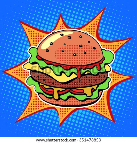 Fast food Burger with sesame meat salad and cheese pop art retro style. Healthy and unhealthy food. Restaurant business. Colorful image of a sandwich on a retro background in the style of comics - stock vector