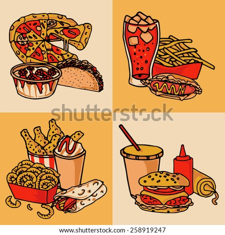 Fast food chain menu 4 flat icons composition of taco hotdog and hamburger abstract isolated vector illustration - stock vector