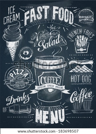 Fast food chalkboard design set - stock vector
