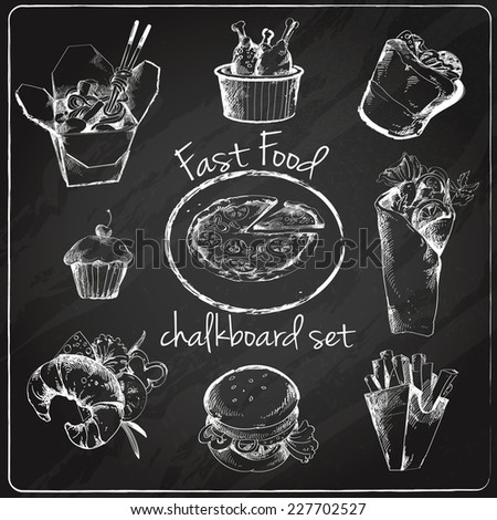 Fast food chalkboard icons set of pizza noodles chicken sandwich isolated vector illustration - stock vector