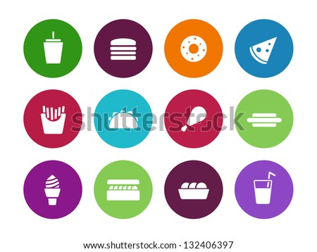 Fast food circle icons on white background. Vector illustration. - stock vector