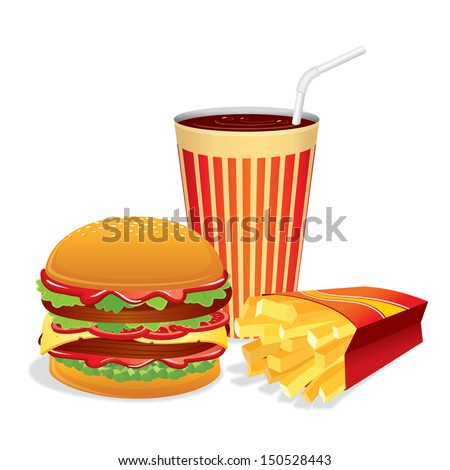 Fast Food Collage. Vector Illustration - stock vector