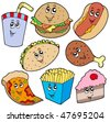 Fast food collection - vector illustration. - stock vector