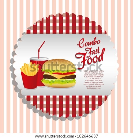 fast food combo with a sandwich french fries and soda, vector illustration - stock vector