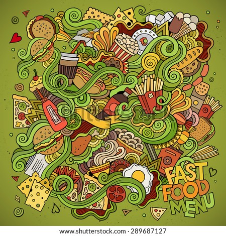 Fast food doodles elements background. Vector illustration - stock vector