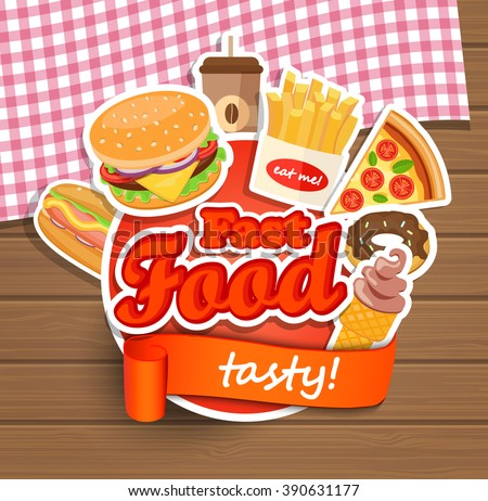 Fast food elements, Typographical Design Label or Sticer - burgers, pizza, coffee, hot dog,  ice cream, doughnut, fries - Design Template. Vector illustration. - stock vector