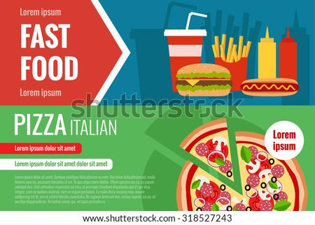 Fast food flat vector horizontal banner set with hamburger, cola, pizza, hotdog and text elements for your design - stock vector