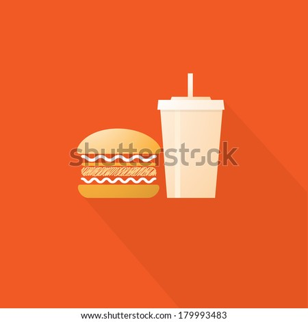 Fast Food, Hamburger and Drinks Vector illustration - stock vector