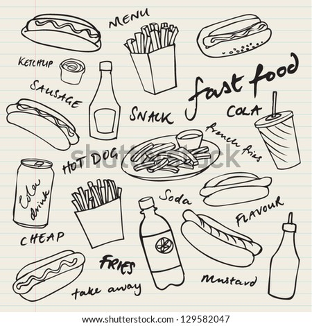 Fast food hotdog vector set - stock vector