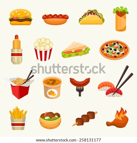 Fast food icon set - stock vector