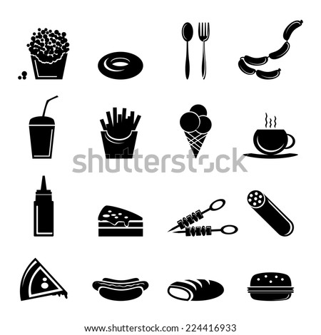 Fast food icons black set of popcorn doughnut cutlery isolated vector illustration - stock vector