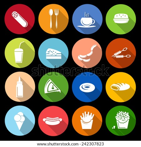 Fast food icons flat set of sausage cutlery cup hamburger isolated vector illustration - stock vector