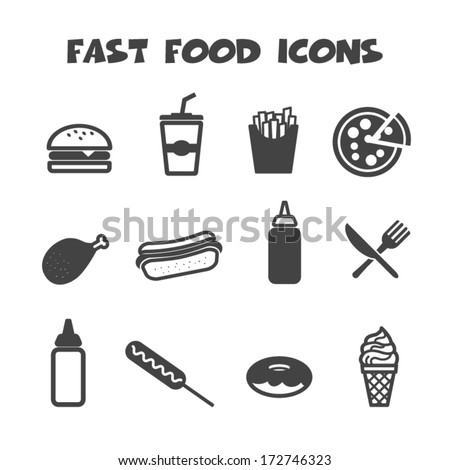 fast food icons, mono vector symbols - stock vector