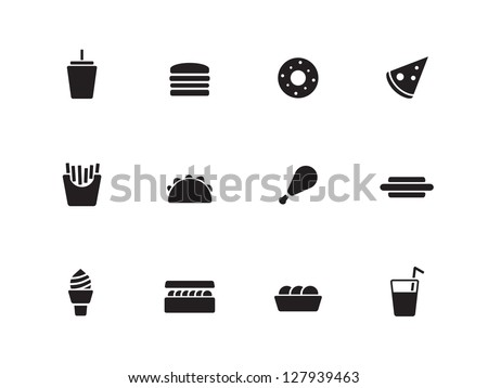 Fast food icons on white background. Vector illustration. - stock vector